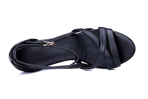 de Sandalias de de Tacón Cuero Negro Cabeza Verano Gruesos Sandalias Redonda Ms Moda Zapatos de de Zapatos gxgBTvHq
