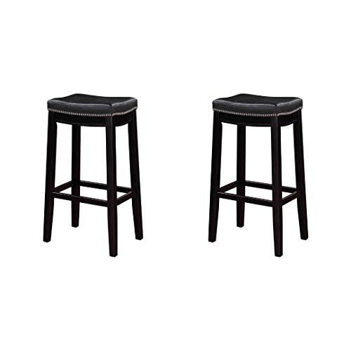 Linon Claridge Bar Stool, 32 inch Seat Height, (2 Set, 32-Inch, Black) ()