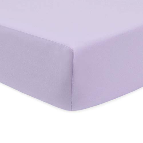 (American Baby Company 100% Natural Cotton Percale Fitted Crib Sheet for Standard Crib and Toddler Mattresses, Lavender, Soft Breathable, for Girls)