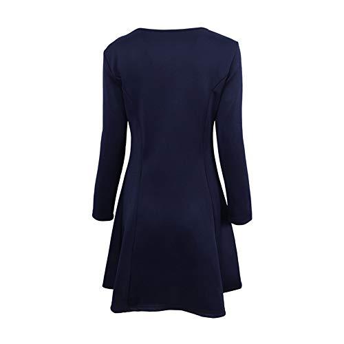 Cuello del Elegante Size Vendimia Redondo la Las sólido Manga Larga Blue de de Vestido Elegante Isbxn de XL Delgado de Color Redondo Vestido la Black Color Mujeres E8qn0