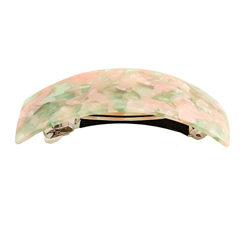 Large Rectangle Barrette - GSM Accessories Womens Cellulose Acetate Large Curved Rectangle Hair Clips Barrettes HC230-Spring