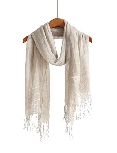 - Lightweight Cotton Scarf Scarfs For Women Shawls And Wraps Scarves For Men (Linen Stripe)