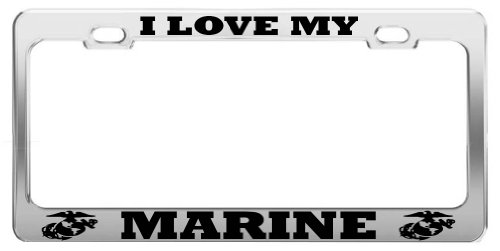 Product Express I Love My Marine United States U.S. Army Steel License Plate Frame TAG Holder