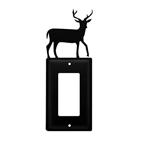 Iron Deer Single Modern Switch Cover - Heavy Duty Metal Light Switch Cover, Electrical Outlet Covers, Lightswitch Covers, Wall Plate (Cast Iron Single Rocker)