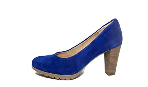 Desiree Modelo 2230 - Salon Piel Serraje de Tacon Ancho 8 cm.Azul