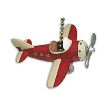 RED PLANE propeller AIRPLANE ceiling FAN PULL chain - Kids