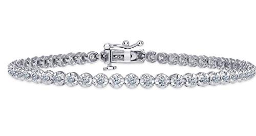 Beverly Hills Jewelers Beautiful 1.00 Carat tw Natural Round Brilliant Cut Shiny White Diamond Tennis Bracelet in White Gold.Secure Double Clasp. Fancy Bracelet Box Included.