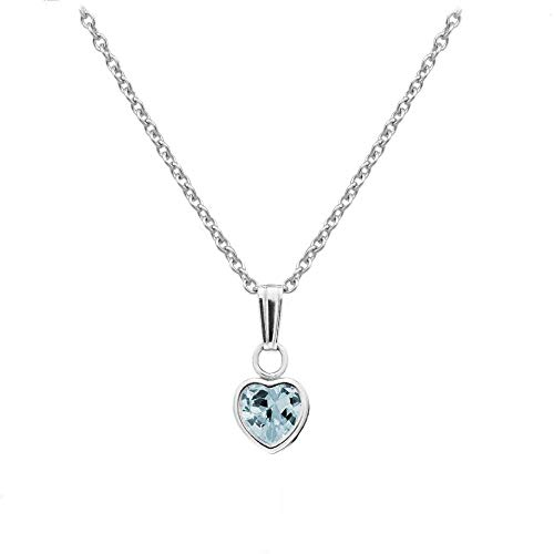 (Little Girl's Sterling Silver Simulated March Birthstone Heart Pendant Necklace (13 in))
