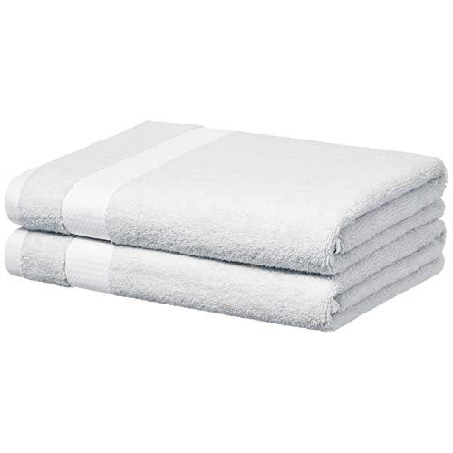 AmazonBasics Everyday Bath Towels – 2-Pack, White