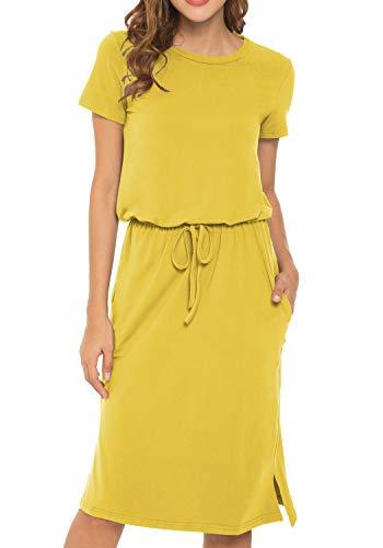 Women's Plain Short Sleeve Work Casual Midi Dress with Pockets Yellow M