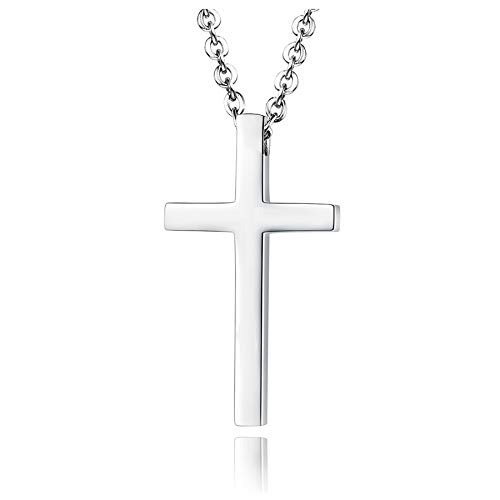 Xianli Wang Jewelry Mens Womens Simple Cross Pendant Exquisite Stainless Steel Titanium Necklace