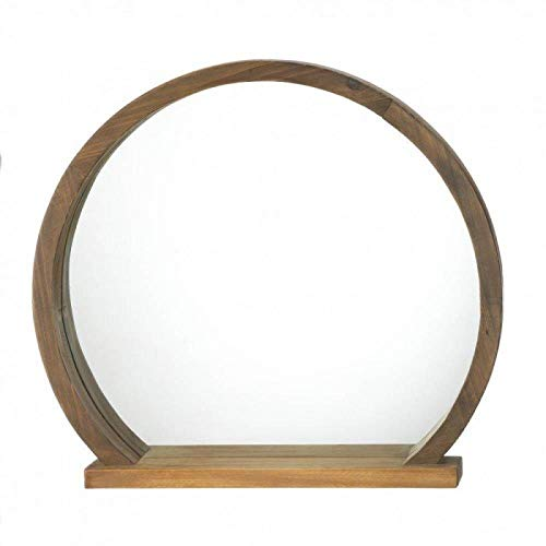 Accent Plus 10018522 Round Wooden Mirror with Shelf, -