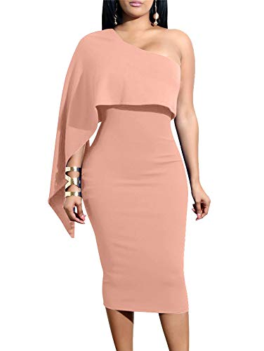 GOBLES Women's Summer Sexy One Shoulder Ruffle Bodycon Midi Cocktail Dress Nude Pink
