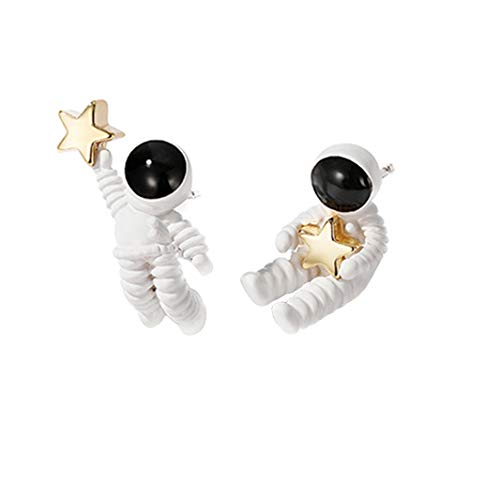 Huathy Cute Asymmetrical Astronaut Stud Earrings Novelty Space Earrings for Women Girls
