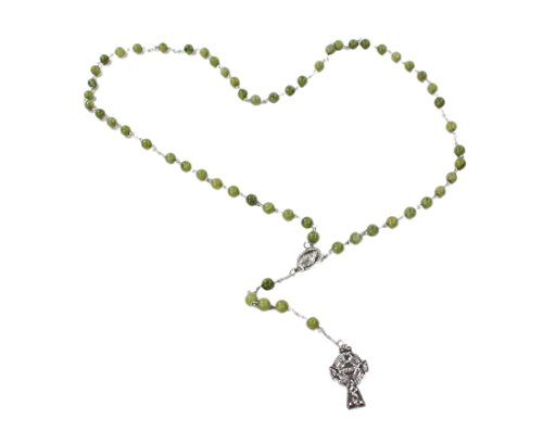 Connemara Marble Rosaries - Connemara Marble Rosary Celtic Cross Made in Ireland