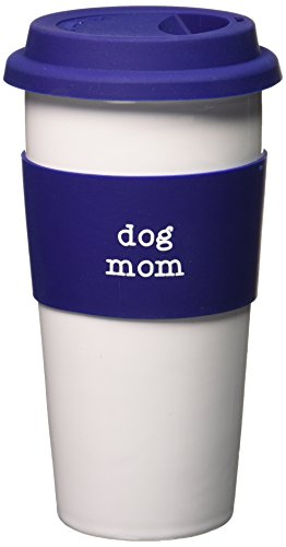 pavilion gift company dog mom ceramic travel mug 15ounce mom love - Coffee Travel Mugs