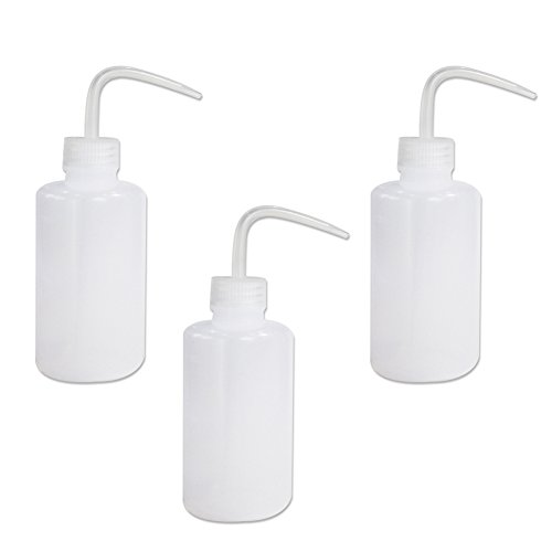 BIPEE 500ml Safety Wash Bottle, Narrow Mouth, Plastic, Pack of3