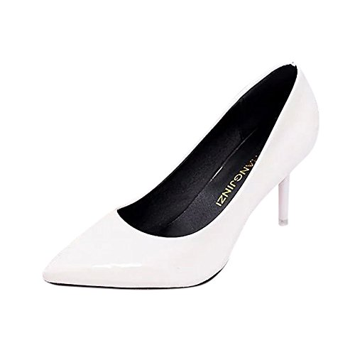 Pumps High Pointed Leather Shoes White Womens Elegant Toe Sexy Hatop Heel PU xqF8vwf8Zn
