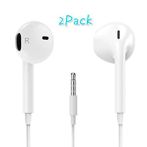 Lamborgini Earbuds Stereo Music Headphones Noise Canceling Sport Comfortable Earphones Compatible with 3.5 mm Headphone (White 2PACK)
