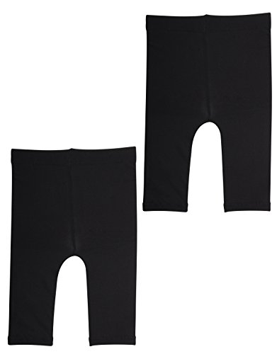 2 Pairs SEMI Opaque Cropped Leggins | Baby Footless Thights | Black,White | 50 DEN | Italian Hosiery | (24 Months, 2 Pairs Black) (50 Opaque Tights)