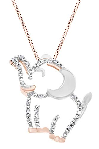 Round Natural Diamond Accent Two Tone Elephant Pendant Necklace in 14K Rose Gold Over Sterling Silver ()