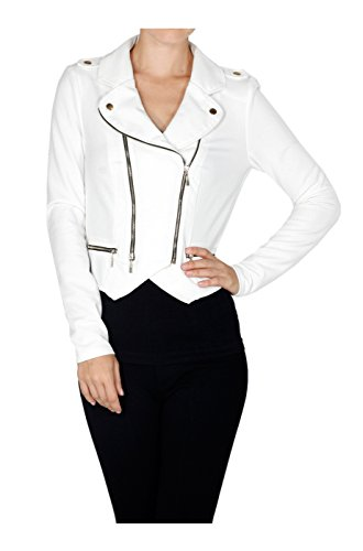 2LUV Women's Long Sleeve Double Zip Moto Jacket Off White M