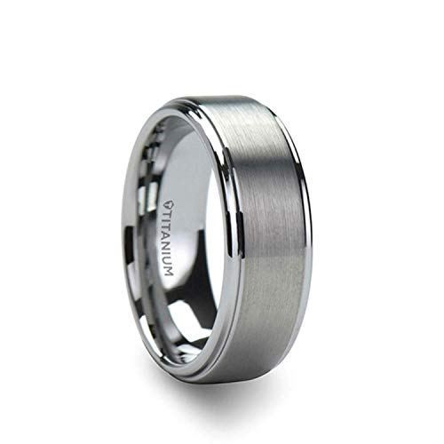 Thorsten Rhinox | Titanium Rings for Men | Lightweight Titanium | Comfort Fit | Custom Engraving | Brushed Raised Center Titanium Wedding Ring with Polished Step Edges - 8 mm