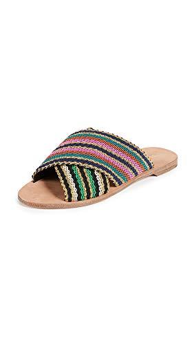 Diane von Furstenberg Women's Cindi Slide Sandals, Black/Gold, 6.5 Medium US