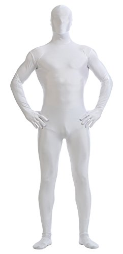 Ensnovo Mens Full Body Tights Suit Costumes Lycra Spandex Zentai Bodysuit White, S -