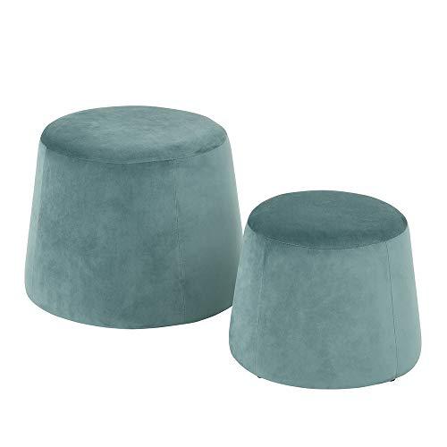 FurnitureR Velvet Pouf Stool Round Ottoman Fabric Round Accent Chair Stool Without Storage Aqua Set of 2