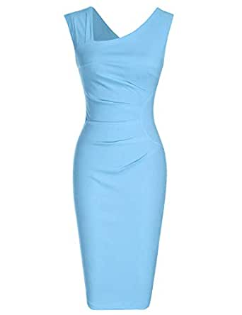 MUXXN Women's Vintage Light Blue Summer Knee Length Formal Office Business Dress (Airy Blue S)