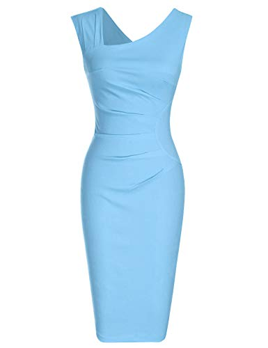 MUXXN Flattering Vintage Wedding Light Blue Dresses Pure Sleeveless Bridesmaid Knee Dress Women (Airy Blue 3XL)