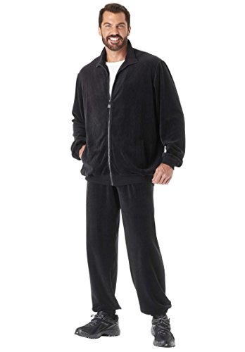 Kingsize Men's Big & Tall Velour Tracksuit, Black Big-4Xl (Velour Tall)