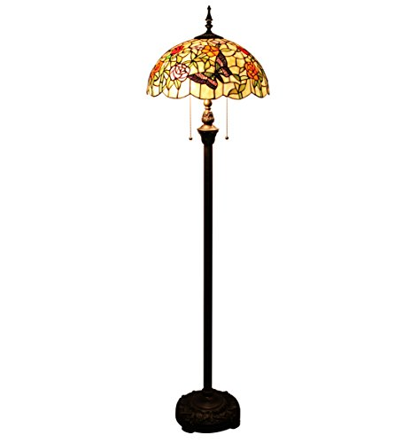 Gweat Tiffany 16-Inch Romantic Pastoral Style Warm Stained Glass Butterflies over Flowers Series Floor - Table Renaissance Style Lamp