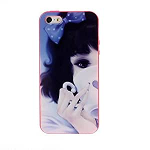 JJETasting Coffee Girl Tpu Soft Gel Back Case Cover Red Frame for iPhone 5/5S