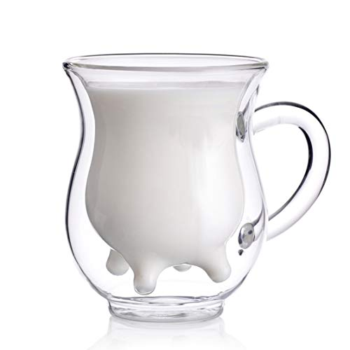 Hwagui - Personalized Heat-Resistant Double Wall Glass Cup & Mug For Milk, Juice, Tea And Coffee 250ml/8.5oz