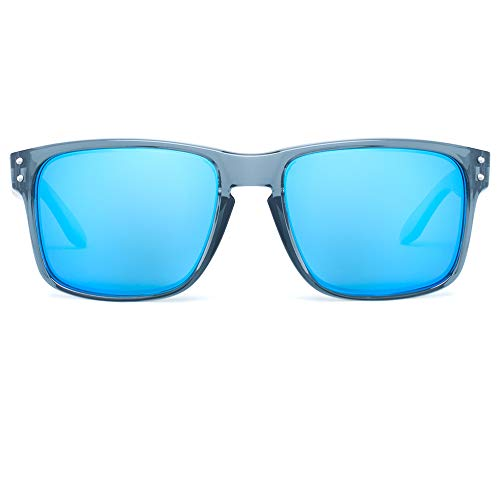 Bnus italy made classic sunglasses corning real glass lens w. polarized option (Crystal Grey/Blue Flash Polarized/Blue Flash lens, Polarized Size:56mm(M)) ()