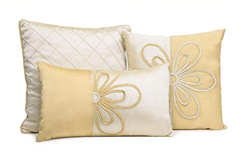 WPM Designer Collection Bedding Set 7 Piece Beige Cream/Gold Luxurious Bed in a Bag King Size Comforter Flower Embroidered Includes 1 Comforter, 2 Shams, 1 Bedskirt, 3 Décorative Pillows by WPM (Image #3)