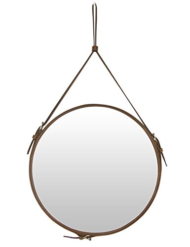 Ms.Box Faux Leather Round Wall Mirror Decorative Mirror with Hanging Strap, Diameter 15.8 inch, Brown (Mirrors Walls Round For Antique)
