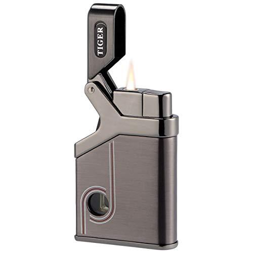 Kivors Torch Lighter Windproof Pocket Lighters Flame Gas Butane Refillable with Butane Window, Gun Metal (Butane not Included)