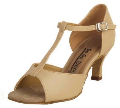 Latin T-Strap Ballroom Dance Shoe (5, Tan)