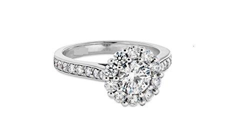 Floral Solitaire 1.50CT Taille brillant rond Diamant Or Blanc 14K Bague de fiançailles, tous les Taille J à Z disponibles