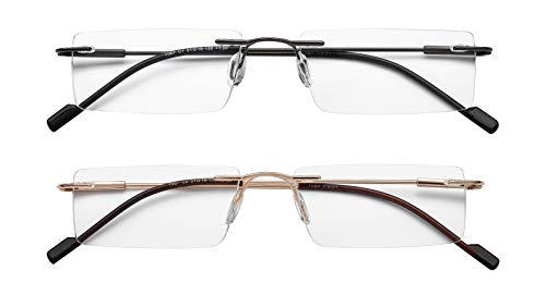 ab7b37533c3 Reading Glasses 2 Pair Rimless Ultra Lightweight Readers for Men and Women