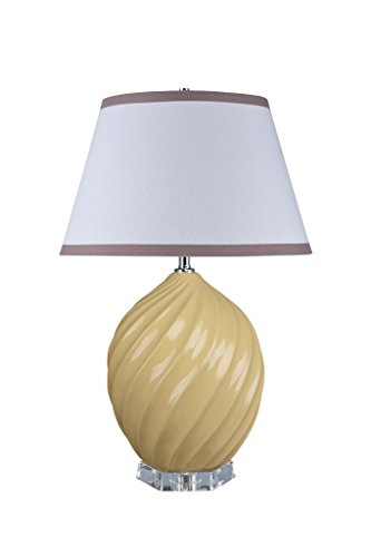 "Aspen Creative 40044-2, 26 1/2"" High Traditional Ceramic Table Lamp, Daffodil Yellow with Crystal Base and Empire Shaped Lamp Shade in White, 17 1/2"" Wide"
