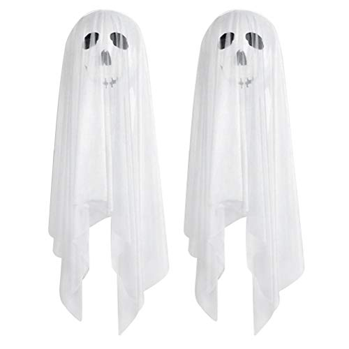 FENICAL Halloween Balloons Decoration Set*2 White Ghost Stuck to The Wall with Tulle Covered Party Supplies (Balloons*2 + Elastic Yarn*2 + Double-sided -