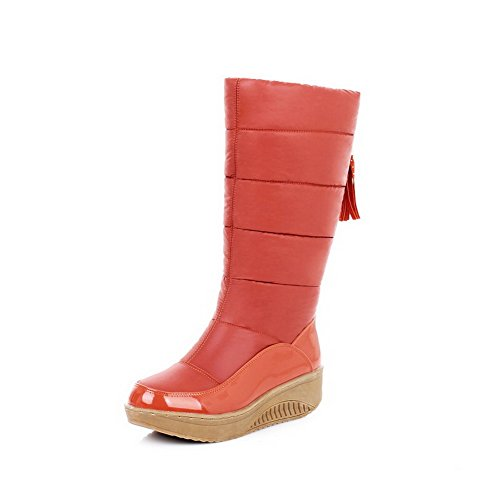 Material with Platform 7 Boots Wedge Soft Solid M B Round Heels Toe Womens Kittten Orange PU and PU US Closed AmoonyFashion qB8x1F