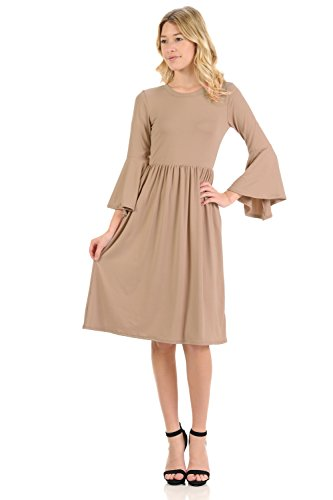 iconic luxe Women's Fit and Flare Dress With Dramatic Bell Sleeve Small Taupe (Taupe Clothing)