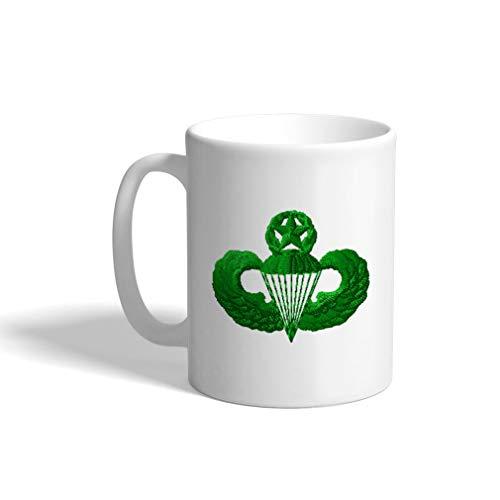 - Ceramic Funny Coffee Mug Coffee Cup Green Master Parachutist White Tea Cup 11 Ounces