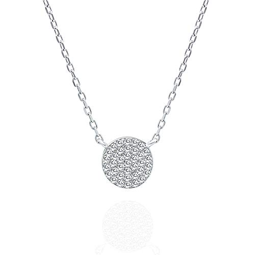 Spoil Cupid 925 Sterling Silver Cubic Zirconia Mini Pave Disc Necklace, 18