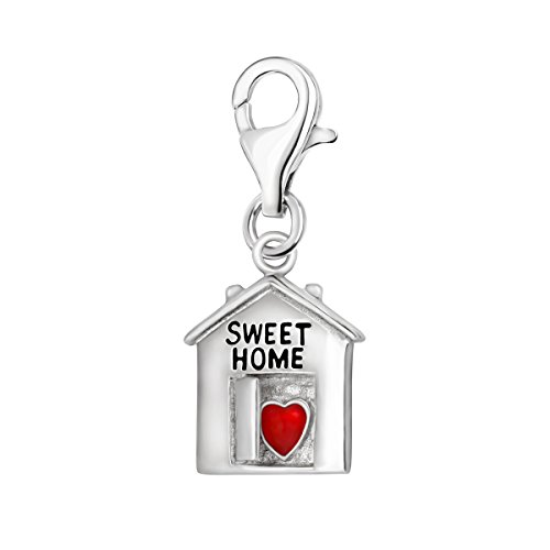 Quiges 925 Sterling Silver Red Enamel 3D House Sweet Home and Heart Lobster Clasp Charm Clip on Pendant ()